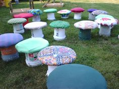 The mushrooms, provide both seating and decoration for the Maryland Faerie festival. Volunteers create them out of old 6 gallon buckets, recycled carpet padding, scrap lumber and fabric scraps. The Maryland Faerie Festival celebrates the faeries. We support and promote the work of keeping the magical world clean,beautiful and educated We try to make all the decorations out of recycled materials.