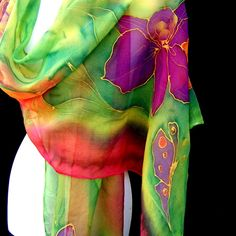 Hand painted silk scarf floral multicolor by silkshop