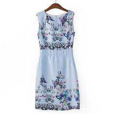 Laconic Scoop Neck Floral Print Color Block Women's SundressSummer Dresses | RoseGal.com