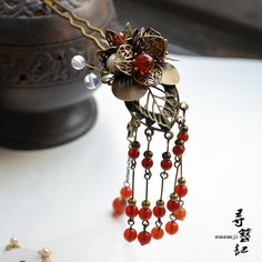 Zi Teng Hua Handmade Classcial Hair Stick with Long Tassel Hanfu Costume Accessory Brdie Hair Jewelry