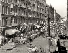 Orchard Street at Rivington Street, on the lower east side of Manhattan, circa 1909. Photo by Detroit Publishing Company via shorpy.com