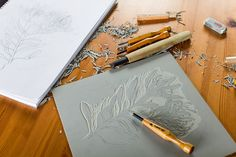 Waratah WIP by Ink & Spindle, via Flickr (I want to try to do a lino print like this)