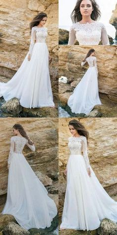 Long Sleeve White Lace Bodice Chiffon Skirt elegant Simple Beach Wedding  Dresses ,W0125 from Dressmelody a0358fff3761