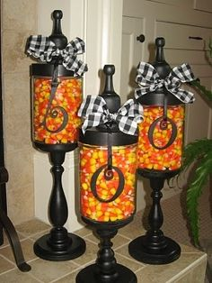 DIY apothecary jars.  Make these expensive looking apothecary jars from items at the dollar store.  Decorate with a cute ribbon and BOO, fill with candy corn.