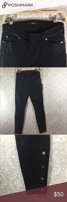 7 For All Mankind Black Skinny Leg Jeans -NWT Brand new -never worn 7 For All Mankind Black Skinny Leg Jeans -NWT.  Black denim with a shin.  Gold detailing.  Size 27. 7 For All Mankind Pants Skinny