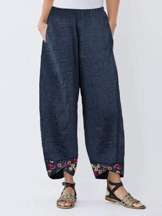 Gorgeous Layered Solid Color Frog Button Casual Pants For Women - NewChic Mobile - Gorgeous Layered Solid Color Frog Button Casual Pants For Women – NewChic Mobile The Effective Pi - Cotton Pants, Linen Pants, Mode Des Leggings, Ethnic Print, Cropped Trousers, Plus Size Blouses, Mode Inspiration, Fashion Pants, Fashion Blouses