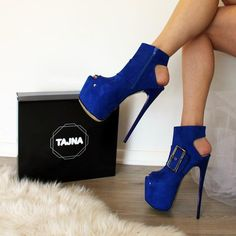 26708d09485c Saxe Blue Open Back Booties Hot Heels