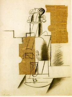 PABLO PICASSO. Violin, 1912, charcoal and collage on cardboard. Cubist period, Synthetic Cubism.