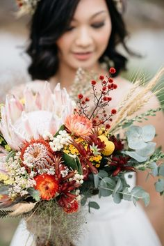 native Australian wedding bouquet with Protea