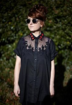 BEAUTIFUL VINTAGE SHIRT WITH HAND SEWN HEART COLLAR DETAIL AVAILABLE @ GINGER DOES VINTAGE ON ASOS MARKETPLACE