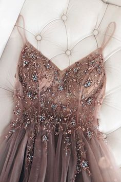 Mar 2020 - beadede long prom dress with spaghetti straps – classygown Stunning Prom Dresses, Pretty Prom Dresses, Ball Dresses, Cute Dresses, Ball Gowns, Dresses Dresses, Teen Formal Dresses, Long Dresses, School Formal Dresses