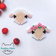 WEBSTA @ pauline_eline - Je reviens à mes bases avec des animaux à couronne... des petits moutons! je crois que ce que je préfère, ce sont leurs mini-mini oreilles. #jenfiledesperlesetjassume #miyukibeads #miyukiaddict #miyuki #perleaddict #perlesaddictanonymes #perles #mouton #sheep #fleurs #flowers #bouclesdoreilles #earrings #motifpauline_eline #brickstitch #handmade