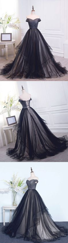promgown:  Black tulle prom dress  shop here