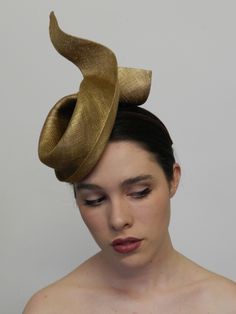 Louise Macdonald millinery, sculpted gold headpiece.