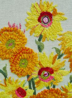 Take 20% Off Large Vintage Van Gogh Sunflowers Yarn Art Needle Point Framed Pictue