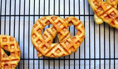 Waffled Soft Pretzels Soft pretzels are kind of a pain to make, but totally worth it. Cooking them on the waffle iron will make them thinner and more chewy, and if you can't get the shape right, you can just make pretzel rolls instead. Deep Dish, Waffle Maker Recipes, Savory Waffles, Waffle Cake, Waffle Waffle, Soft Pretzels, Just Cooking, Empanadas, Different Recipes