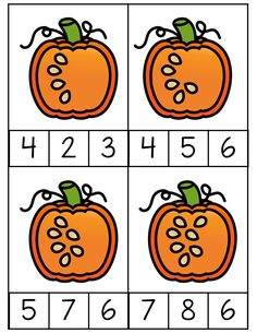 Counting clip cards are a great addition to the math center. The students will love these fun fall images. They are not hard to create either. Just print, laminate, and cut out. preschool pre-k kindergarten Fall Preschool Activities, Free Preschool, Halloween Activities, Preschool Worksheets, Preschool Learning, Classroom Activities, Toddler Activities, Teaching, Classroom Crafts