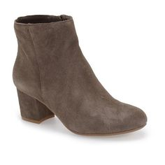 """Steve Madden 'Holster' Bootie, 2 1/4"""" heel ($130) ❤ liked on Polyvore featuring shoes, boots, ankle booties, ankle boots, grey suede, steve madden bootie, gray bootie, gray booties and block heel ankle boots"""