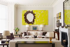 Discover stylish living room design ideas on Art by Jean-Marc Bustamante makes a statement in this drawing room by Todhunter Earle.