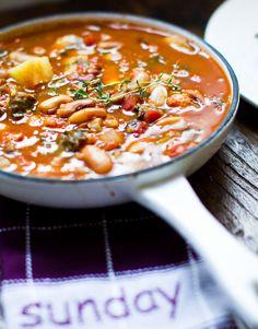 Snow Cap Bean Stew. Quinoa. Veggies. Herbs.