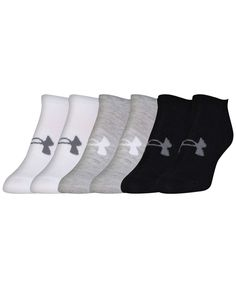 Intense workouts are no match for the moisture-wicking, odor-neutralizing, arch-supporting comfort of these Under Armour no-show socks. Each pack contains 6 pairs. Under Armour Outfits, Under Armour Girls, Under Armour Shoes, Cheer Outfits, Sporty Outfits, Sporty Clothes, Cheer Clothes, Basic Wardrobe Pieces, Workout Attire