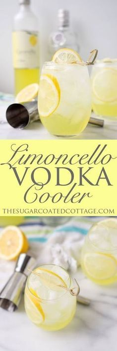 Limoncello Vodka Cooler - The Sugar Coated Cottage - - Limoncello Vodka Cooler. Sweet Limoncello, a hit of vodka and lots of ice make this the perfect summer cooler for those hot summer days and nights. Fancy Drinks, Bar Drinks, Cocktail Drinks, Alcoholic Drinks, Beverages, Bourbon Drinks, Italian Cocktails, Dessert Drinks, Refreshing Drinks