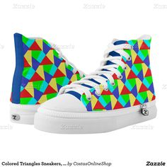 Colored Triangles Sneakers,  Printed Shoes