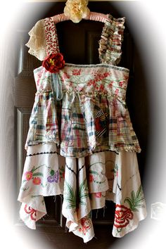 Rustic Romantic Boho Dress Gypsy Cowgirl Chic Altered Couture Vintage Style Mori Girl Lagenlook
