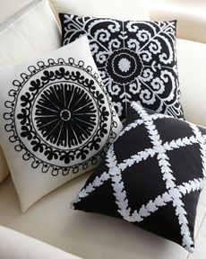 Black & White - Pillows from Horchow. love this pillows