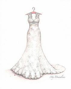 b1953bc5e4b First Anniversary Gift for her - Wedding Dress Sketch by Catie  Stricker-Howell