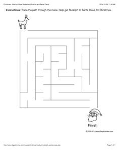 Christmas maze worksheet with Rudolph and Santa Claus. 4 levels of difficulty (maze changes each time you visit)