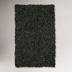 One of my favorite discoveries at WorldMarket.com: Leather Shag Rug, Black