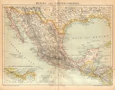 1885 Original Antique Map of Mexico and by CabinetOfTreasures