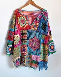 Free Form Crochet Sweater ::: digu.com. This has very cool color choices. could be made for children to XL adult. I like free Form Crochet. Lorr