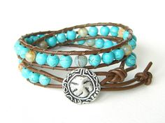 Brown leather double wrap boho beach bracelet by MirasBeadBoutique, £14.00