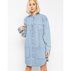 ASOS WHITE Bleach Denim Shirt Dress
