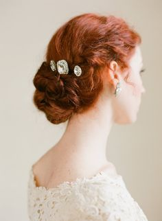 Items similar to Sparkling Rhinestone Bridal Bobby Pin Set by Fine & Fleurie on Etsy Bridal Hair Updo, Bridal Comb, Wedding Hair And Makeup, Hair Makeup, Auburn Red Hair, Wedding Hairstyles, Cool Hairstyles, Different Hairstyles, Beautiful Long Hair