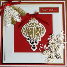 Christmas Card by Sospecial Cards. Sue Wilson Creative Expressions Vintage Bauble, Pine Bough and Poinsettia Dies
