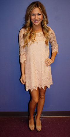 Cute pale pink lace dress