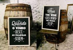 Wine cellar decor. Chalkboard handwritten type. www.comobranco.com @marryinportugal #comobranco