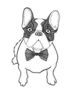 Bulldog Francés por SketchbookMKE en Etsy