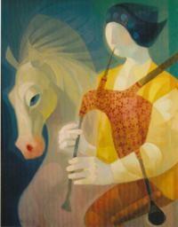 Gaiteiro a Caballo, 81 x 65 cm., 2005 óleo s/liezo, José González Collado