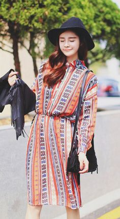 Fashiontroy Hipster & indie long sleeves shirt collar brown printed striped chiffon midi dress