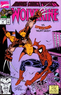 Savage (no draggin') cover by Erik Larsen: NEW! Spidey is out of his league when Wolvie snikts his claws (okay, just thwip out more web, ey?). NEW, TOO! Three more stories.
