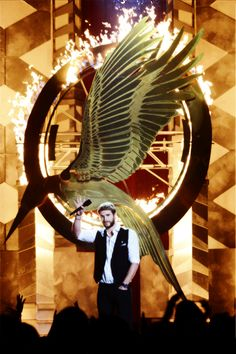 Liam Hemsworth at the 2013 MTV Movie Awards presenting the 'Catching Fire' Teaser Trailer (4/14).