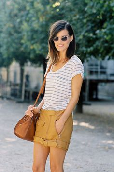 Super cute summer style! I might wear the same color, but with shorts, not a skirt