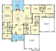 4 BedCraftsman House Plan with Open Floor Plan - 68410VR   Architectural Designs - House Plans