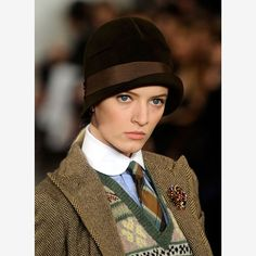 THE RETRO CLOCHE [Hat-iquette 101: 21 Hat and Hair Combos to Try | eHow.com] ~ check out the tie, sweater vest and tweed jacket too!  #geek-chic #fashion #hat