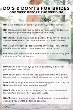 Important DOs and DON'Ts for brides one week before the wedding. Definitely something to pin now + read later!