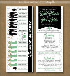 wedding program, ceremony program, wedding party silhouettes, PRINTABLE